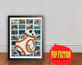 Star Wars BB8 The Force Awakens  Original Artwork Canvas & Prints, Collectible. Digital Mix-Media Art. Pop Culture. Trading Cards