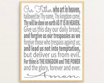 The Lord's Prayer, The Lords Prayer, Lords Prayer Art, Lords Prayer Print, Printable Art, Scripture Art, Scripture Typographic Print