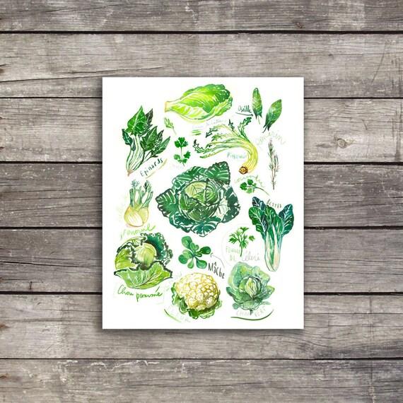 Kitchen Decor Vegetables: Green Wall Decor Watercolor Vegetable Print Kitchen Art