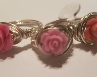 Pink Rosette Wirewrapped Ring