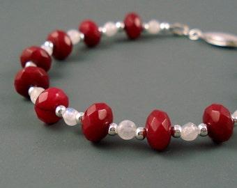Ruby Bracelet, Natural Rubies and Moonstone with Sterling Silver, OOAK Ruby Bracelet