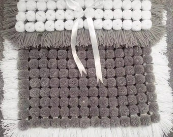 Grey & white PomPom blanket