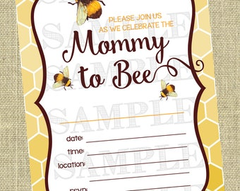 Printable Mommy To BEE Invitations, Watercolor Bee Invitations . Instant Download Baby Shower Invitation