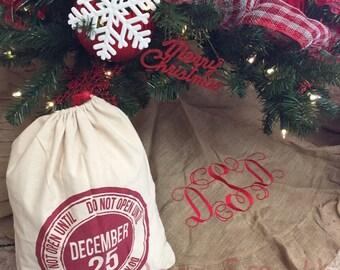 Burlap Tree Skirt, Monogrammed Tree Skirt, Christmas Tree Skirt, Custom Burlap Tree Skirt, Christmas Decor, Gift