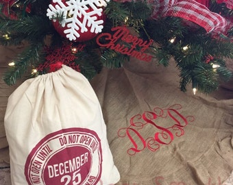 Burlap Tree Skirt, Monogrammed Tree Skirt, Christmas Tree Skirt, Custom  Burlap Tree Skirt