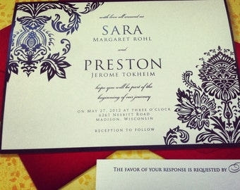 """Bold Damask Wedding Invitation Suite - """"The Karina"""""""