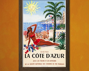 South Of France Travel Poster - Vintage Travel Print French Riviera Poster Dorm Poster Retro Travel Poster Vintage   Reproduction