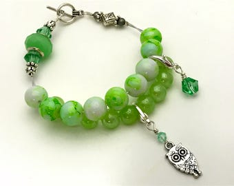 Owl Abacus Charm Bracelet- Knitting Row Counter- Green Counting Bracelet- Gift for Knitters- Knitting Jewelry