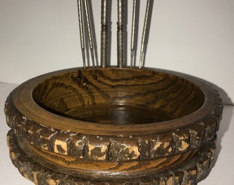 Vintage Rustic Wood Tree Bark Nut Bowl Man Cave Cabin Decor Retro