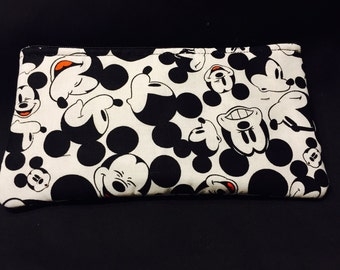 The Many Faces of Mickey Mouse Pencil Case / Zipper Pouch, Coin Purse, or Wristlet #203
