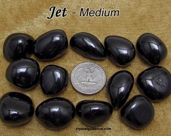 Jet (medium) tumbled stone for crystal healing