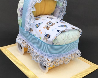 Sports diaper bassinet, sports baby shower, sports centerpiece, diaper bassinet, diaper cake boy, diaper cakes, unique baby gift, baby gift