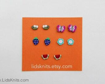 Surgical Steel Earrings - Pollinator Set (Bees, Butterflies, Flowers, Fruits)