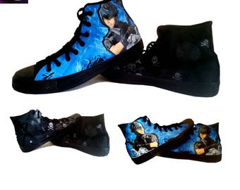 Video Game Inspired Painted Canvas Converse Shoes