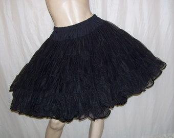 Black Full Crinoline Halloween Costume Slip Skirt Vintage Malco Lingerie Sheer 4 Tier Nylon Petticoat Huge Fluffy Tutu Tu Tu Adult P S XS