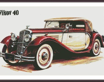 Vintage Car Stitch | Counted Cross Stitch | Cross Stitch Pattern | DIY Gift for Him | Printable PDF Chart | Car Cross Stitch | Printable PDF