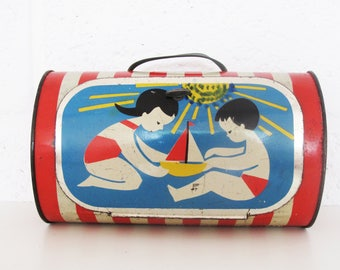 Retro Children Litho Lunch Box tin box/ container - Children playing on the beach