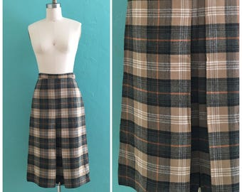 vintage 60's brown plaid skirt // wool scottish pleated skirt