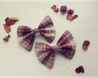 Plaid Hair Bow in Cabin Fever - Autumn, Fall, Soft Maroon Plaid Hair Bow, Perfect Gift and Fall Fashion Hair Accessory