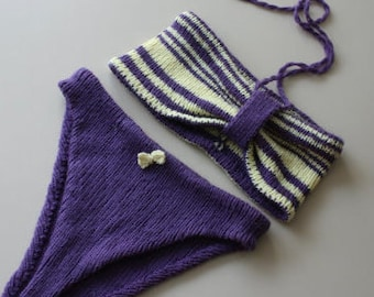 Yellow and purple knit bikini, OOAK, hand knit, knit bikini, knitted bikini, retro bikini, vintage bikini, knit bathing suit, vintage suit