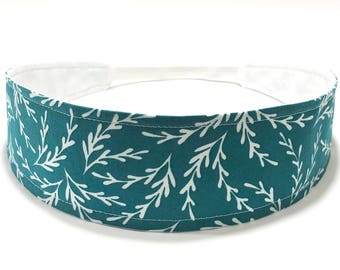 Ready to Ship - Jade Green Headband for Women, Adult Womans Headband - Jade Green, White, Botanical, Vines, Leaves - JADE & WHITE BRANCHES