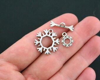 5 Snowflakes Toggle Clasp Set Antique Silver Tone 3 Piece Set with Dangle- SC2542