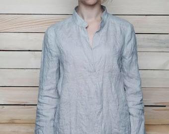 Linen Longsleeve Shirt/Blouse With Collar-Stand/ Linen Shirt/ Linen Tank Longsleeve/ Linen Top Eco Friendly