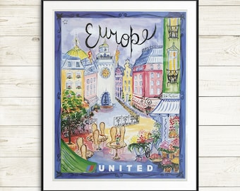 europe travel posters, vintage europe tourism posters, united airlines vintage posters, travel europe posters, france travel poster set