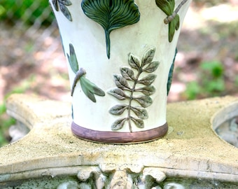 Ceramic Vase with DRAGONFLIES AND FERNS
