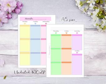 A5   Printed   Planner   Insert   WO2P   Week on 2 pages   Pastel   13 Weeks   Filofax   Kikkik