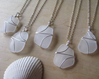 White Sea Glass Bridesmaid Necklaces