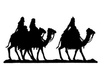 Magi on Camels Silhouette unmounted Christmas rubber stamp, wisemen, nativity, magi, Sweet Grass Stamps No.13