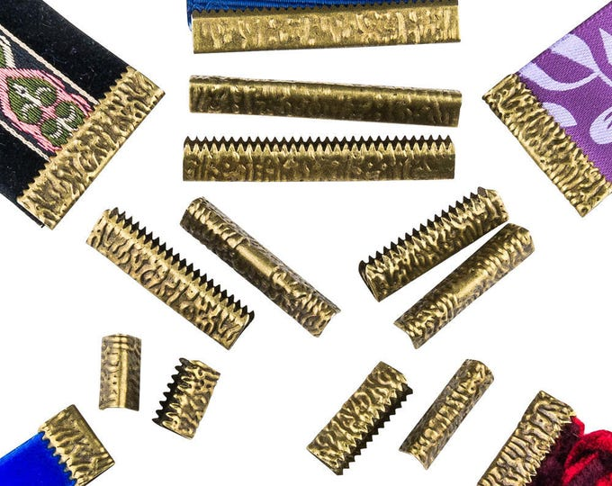 No Loop Ribbon Clamp Crimp Ends - Assorted Sizes  - Antique Bronze - Artisan Series