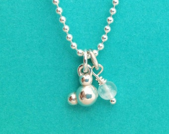 water molecule necklace - H2O molecular jewelry - in solid sterling silver