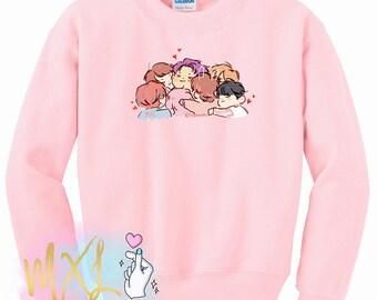 BTS OT7 Hug Kpop Crewneck Sweatshirt (Design by Yeooongi)