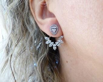 Cubic Zirconia Ear Jacket Silver Dainty Stud Earrings, Double Sided Crystal Back And Front Earrings,Delicate Diamond Earrings,Modern Jewelry