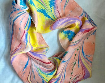 """Peach, Red, Yellow, Green and Blue - Water Marbled Hand Painted 100% Silk 6 Foot Long Scarf Habotai 8mm - 14"""" x 72"""""""