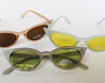 Glitter Pastel Sunglasses, Sunglasses, Vintage, Rockabilly, Cat Eye Sunglasses, Pinup Sunglasses, Retro Sunglasses