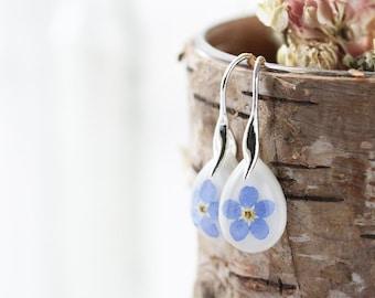 Forget me Nots Earrings , Teardrop Dangle Earrings , Real Flower Earrings , Something Blue , Pressed Flower Earrings , Resin Earrings