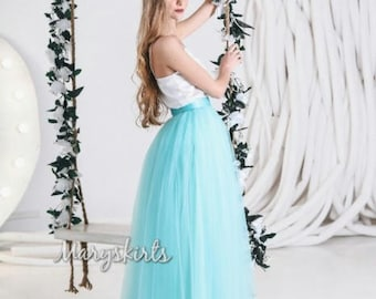 Floor-length tulle skirt fixed waistband with hidden zipper (any color)