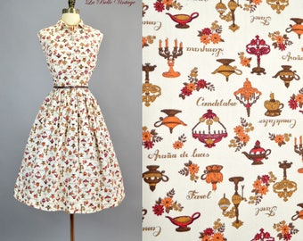 Antique Lamp Print Dress L Vintage 50s Novelty Cotton Shirtdress