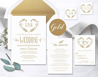 Gold Wedding Invitation Template, Printable Wedding Invitations, Elegant Wedding Invitation, Editable Text, Heart Wreath VW39