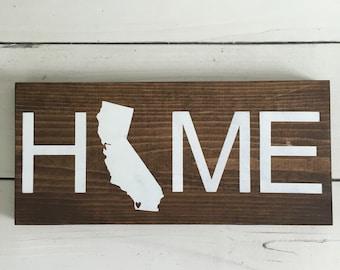 State HOME wood sign, California home handmade wood sign, state wood sign, home decor, nursery wood sign, baby wood sign, wood signs,