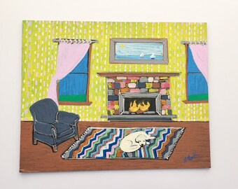 Interior: Living Room with Sleepy Dog