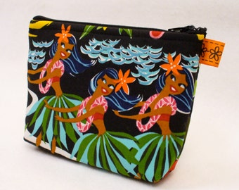 Hawaiian Hula Dancers Hawaii Girls Fabric Gadget Pouch Cosmetic Bag Fabric Zipper Pouch Makeup Bag Cotton Zip Pouch Alexander Henry MTO