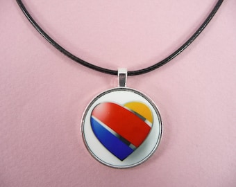PENDANT NECKLACE Southwest Airlines One Luv Heart Jewelry Flight Attendant Crew Pilot Wife Spouse Gift Round Black Leather Cord 18 inch