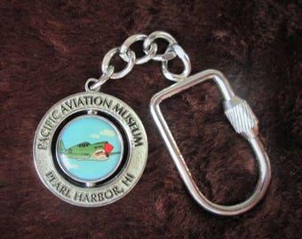 Vintage Pearl Harbor Hawaii Swivel Key Chain Pacific Aviation Museum Militaria