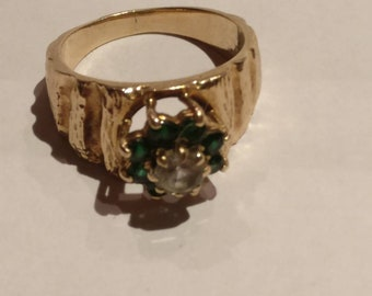 Diamond and Emerald 9ct Gold Ring 1973