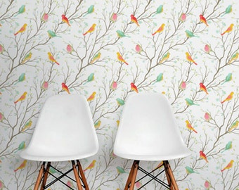 COLORFUL BIRDS pattern Wallpaper, Removable wallpaper, Colorful birds wall sticker, Birds wall decal, Colorful spring birds wall mural, 176