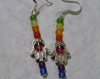 Rainbow Gemstone and Hamsa Bead Earrings